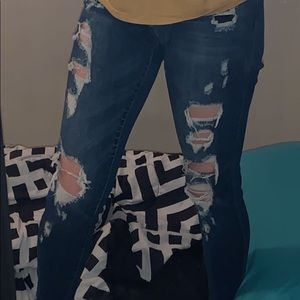 Ripped, Blue Jeans. Never worn